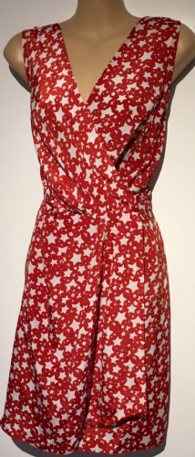 CLOSET RED STAR PRINT SILKY TIE BACK DRESS SIZE UK 14